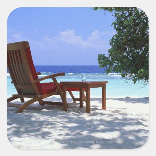 Beach Chair 6 Square Sticker