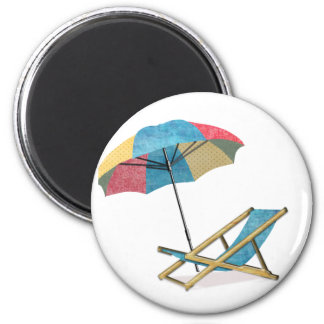 Beach Chair and Umbrella 2 Inch Round Magnet