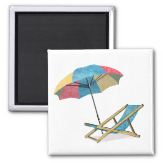 Beach Chair and Umbrella 2 Inch Square Magnet