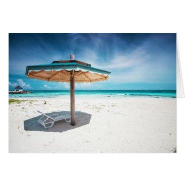 Beach Themed Beach Chair And Umbrella | Silver Sands Beach Card