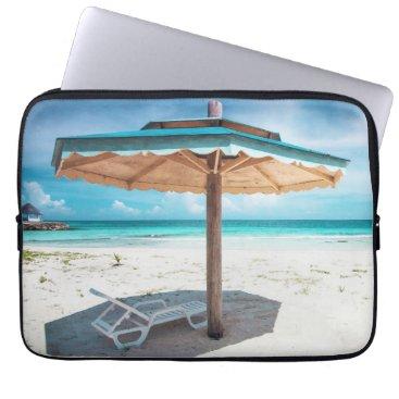 Beach Themed Beach Chair And Umbrella | Silver Sands Beach Laptop Sleeve
