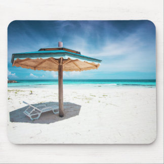Beach Chair And Umbrella | Silver Sands Beach Mouse Pad