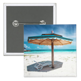 Beach Chair And Umbrella | Silver Sands Beach Pinback Button