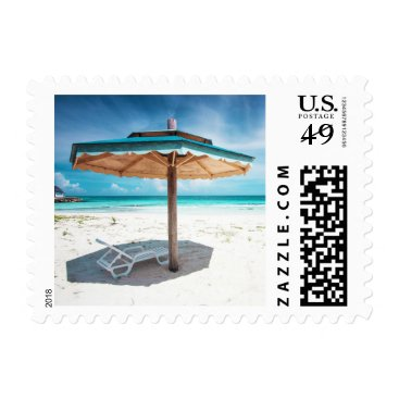 Beach Themed Beach Chair And Umbrella | Silver Sands Beach Postage