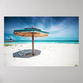 Beach Chair And Umbrella | Silver Sands Beach Poster