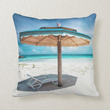 Beach Themed Beach Chair And Umbrella | Silver Sands Beach Throw Pillow