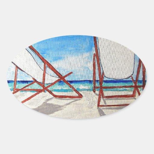 Beach Chair Breeze Oval Stickers