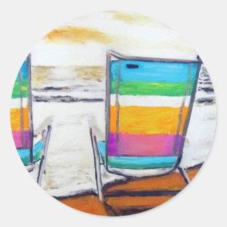 Beach Chair Daydream Classic Round Sticker