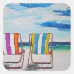 Beach Chair Delight Square Sticker