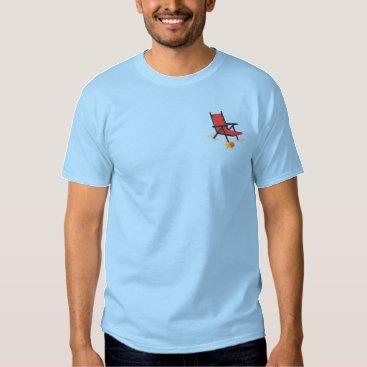 Beach Themed Beach Chair Embroidered T-Shirt