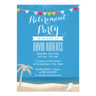 Beach Chair & Palm Tree Retirement Party Invitation
