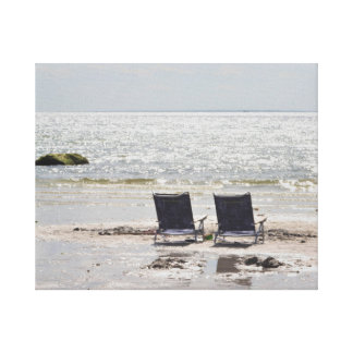 Beach chair photography canvas print