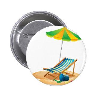 Beach chair pinback button