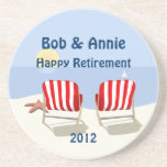 Beach Chair Retired Personalized Coaster