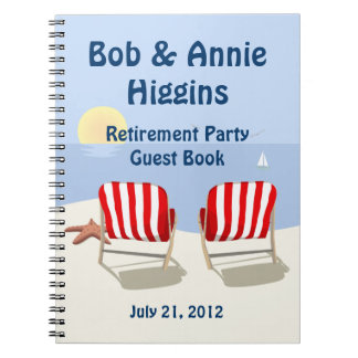 Beach Chair Retirement Party Guest Book Spiral Notebook