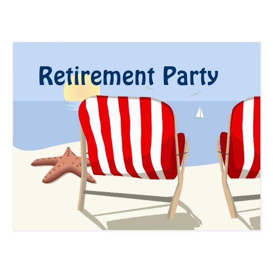 Beach Chair Retirement Party Postcard Invitation