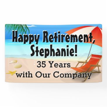 Beach Themed Beach Chair Scene Custom Retirement Party Banner