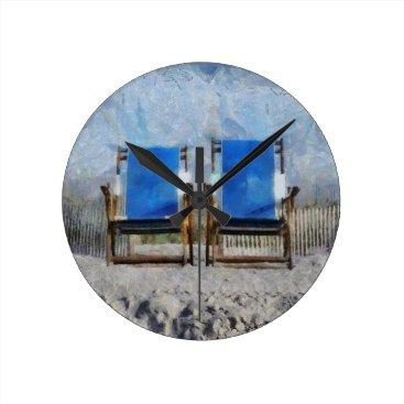 Beach Themed Beach Chair Wall Clock