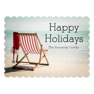 Beach chair with santa hat 5x7 paper invitation card
