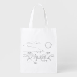 Beach Chairs Adult Coloring Bag Market Tote