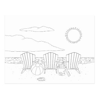 Beach Chairs Adult Coloring Postcard