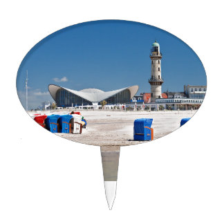 Beach chairs and lighthouse in Warnemuende Cake Toppers