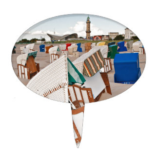 Beach chairs and lighthouse in Warnemuende Cake Topper