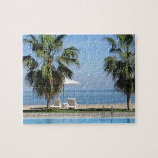 Beach Chairs and Umbrella, Palms, Ocean, Pool Jigsaw Puzzle