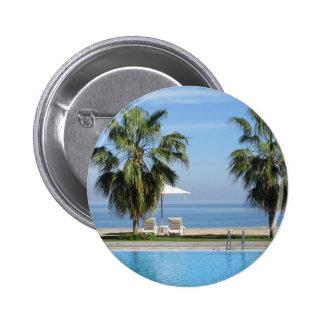Beach Chairs and Umbrella, Palms, Ocean, Pool Pinback Button
