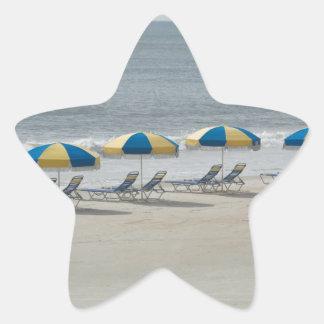 beach chairs and umbrellas sticker