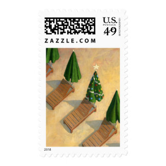 Beach Chairs Christmas postage stamp
