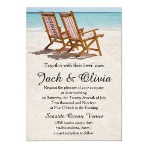 Beach Chairs Destination Wedding Invitation