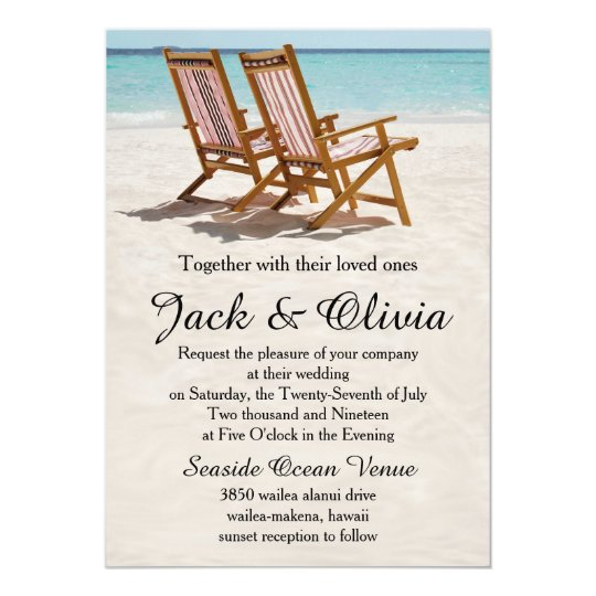 Beach Chairs Destination Wedding Invitation Zazzlecom