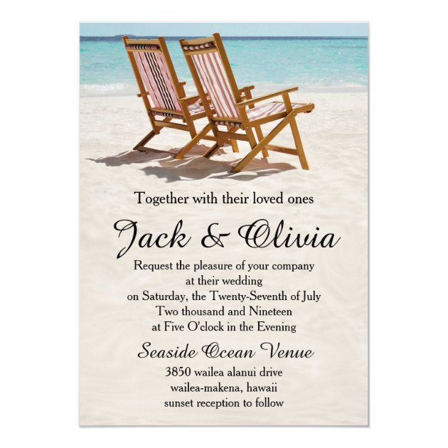 Beach Chairs Destination Wedding Invitation Zazzle Com