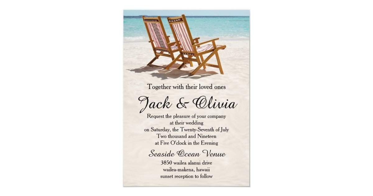 Destination Wedding Invitations When To Send: Beach Chairs Destination Wedding Invitation