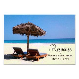 Beach Chairs Destination Wedding RSVP 3.5x5 Paper Invitation Card