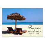 Beach Chairs Destination Wedding RSVP 3.5x5 Paper Invitation Card