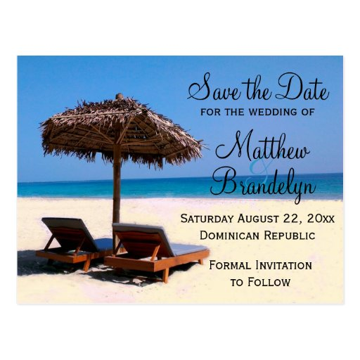 beach chairs destination wedding save the date postcard zazzle