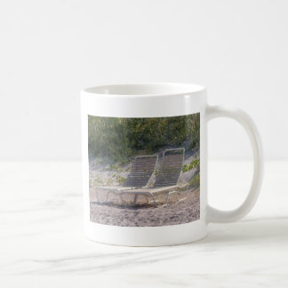 beach chairs classic white coffee mug