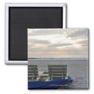Beach chairs on St. Pete's beach at sunset. Refrigerator Magnet
