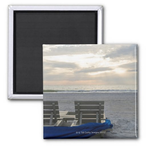 Beach chairs on St. Pete's beach at sunset. 2 Inch Square Magnet