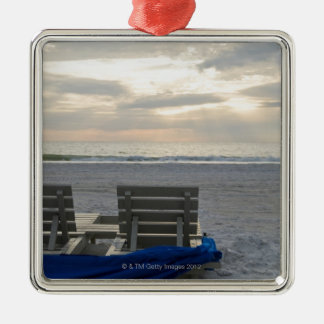 Beach chairs on St. Pete's beach at sunset. Metal Ornament