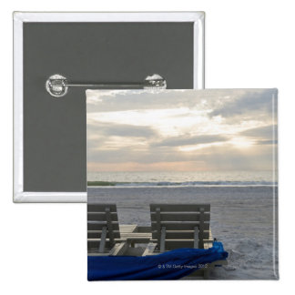 Beach chairs on St. Pete's beach at sunset. Pinback Button