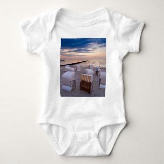 Beach chairs on the Baltic Sea coast Baby Bodysuit
