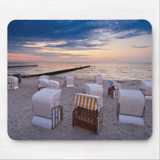 Beach chairs on the Baltic Sea coast Mouse Pad