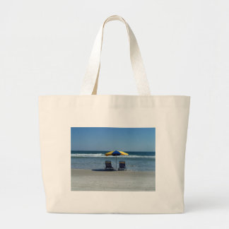 Beach Chairs on The Shoreline Large Tote Bag