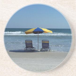 Beach Chairs on The Shoreline Sandstone Coaster