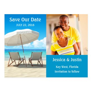 Beach Chairs Photo Save the Date Card