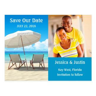 Beach Chairs Photo Save the Date Card Postcard