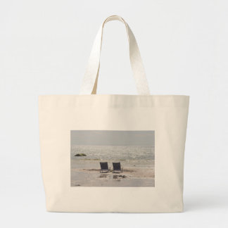 Beach chairs photography large tote bag